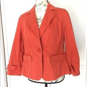 Talbots Orange Stretch Blazer Jacket Coral 12 Reg
